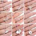 SMJEL Edelstahl Tier Halsketten für Frauen Mode Origami Elefant Giraffe Whale Schmetterling Bär Kaninchen Anhänger Halsketten