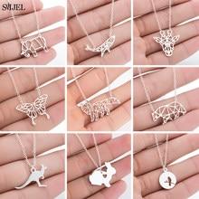 SMJEL – colliers animaux en acier inoxydable pour femmes, pendentifs Origami, éléphant, girafe, baleine, papillon, ours, lapin, à la mode