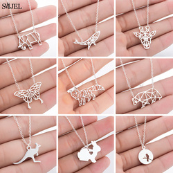 SMJEL Stainless Steel Animal Necklaces for Women Fashion Origami Elephant Giraffe Whale Butterfly Bear Rabbit Pendants Necklaces