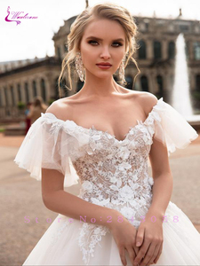 Image 4 - Waulizane V Neckline Ball Gown  Wedding Dress Off the shoulder Flare Sleeves With Chapel Train