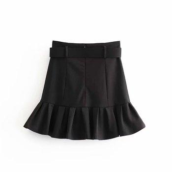 New women basic black mini skirt high waist belt back zipper hem pleated skirt solid fashion female casual skirts mujer QUN547 2