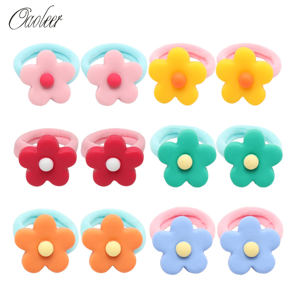 Oaoleer Hair Accessories 12 Pcs Bag Rubber Bands for Girls Colorful Flowers Scrunchies for Kids Elastic Hair Ties Gum for Hair in Hair Accessories from Mother Kids