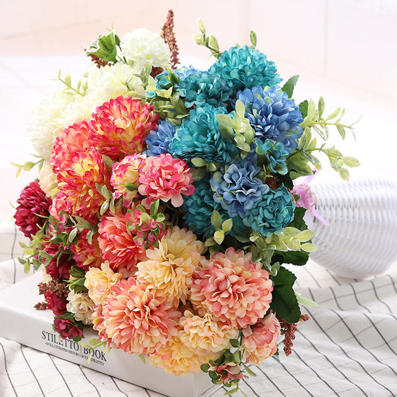 Peony Artificial Flowers High Quality Luxurious Bouquet Wedding Decoration for Home Table Decor Sky Blue Fake Flowers Hydrangea 2