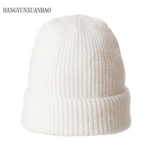HANGYUNXUANHAO Winter Wool Warm Hats For Women Rabbit Fur Knitted Beanies Ladies Angola Casual Cap Skullies