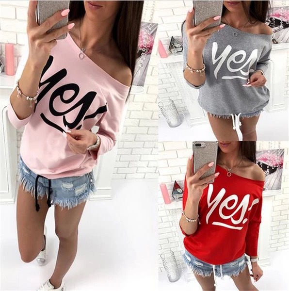 2018 AliExpress Three-Color Crew Neck Yes! Printed Bandage Cloth Three-quarter-length Sleeve WOMEN'S Sweater 2308