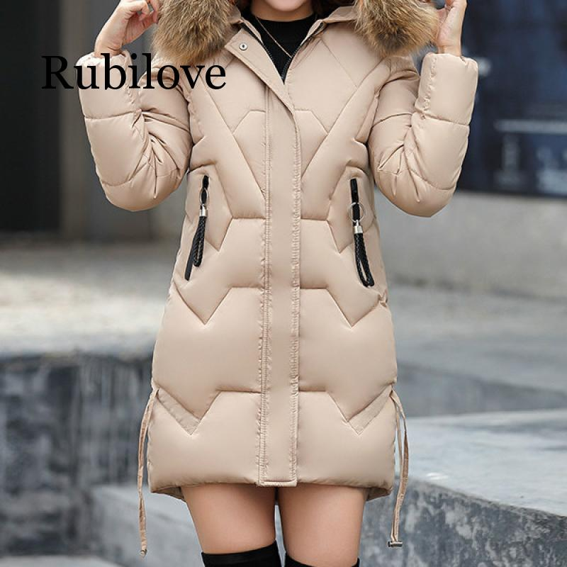 Rubilove Korean Women Parka Mujer 2019 Winter Long Fur Outwear Jacket Coat Femme M 3XL Plus Size Parkas for Wo