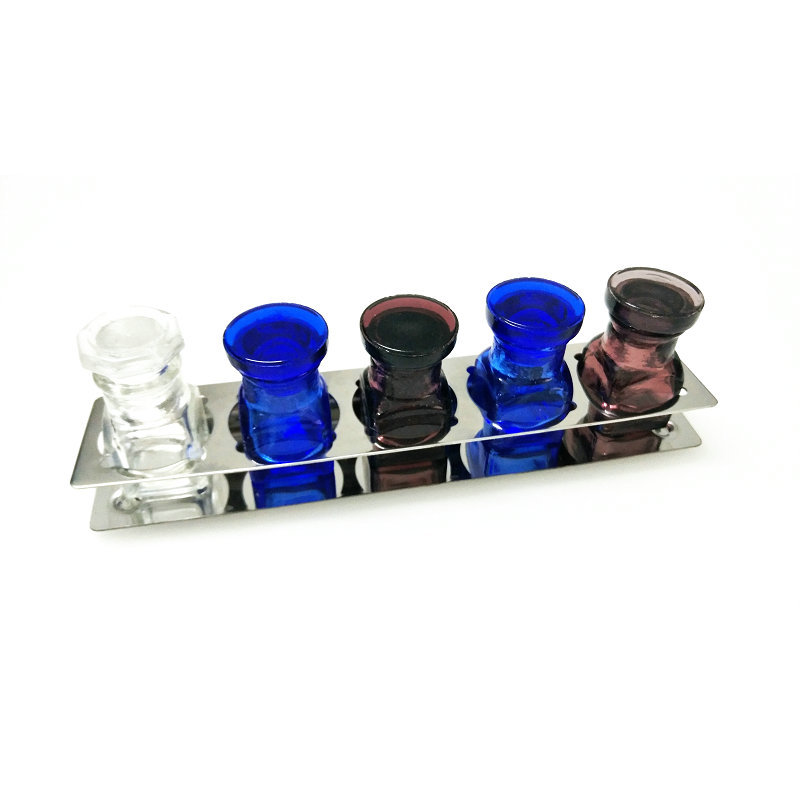 5pcs Dental Medicine Glass Bottles With Stainless Steel Placer Holder