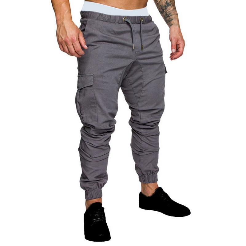 2020 Men New Casual Cargo Pants Plus Size Sport Joggers Trousers Black Fitness Gym Clothing Pockets Leisure Sweatpants Fit