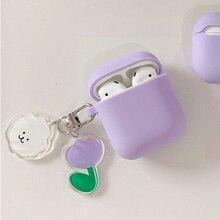 Mini pro 5 tws caso bonito urso flor dos desenhos animados chaveiro acessórios fone de ouvido capa mini pro5 capa protetora silicone