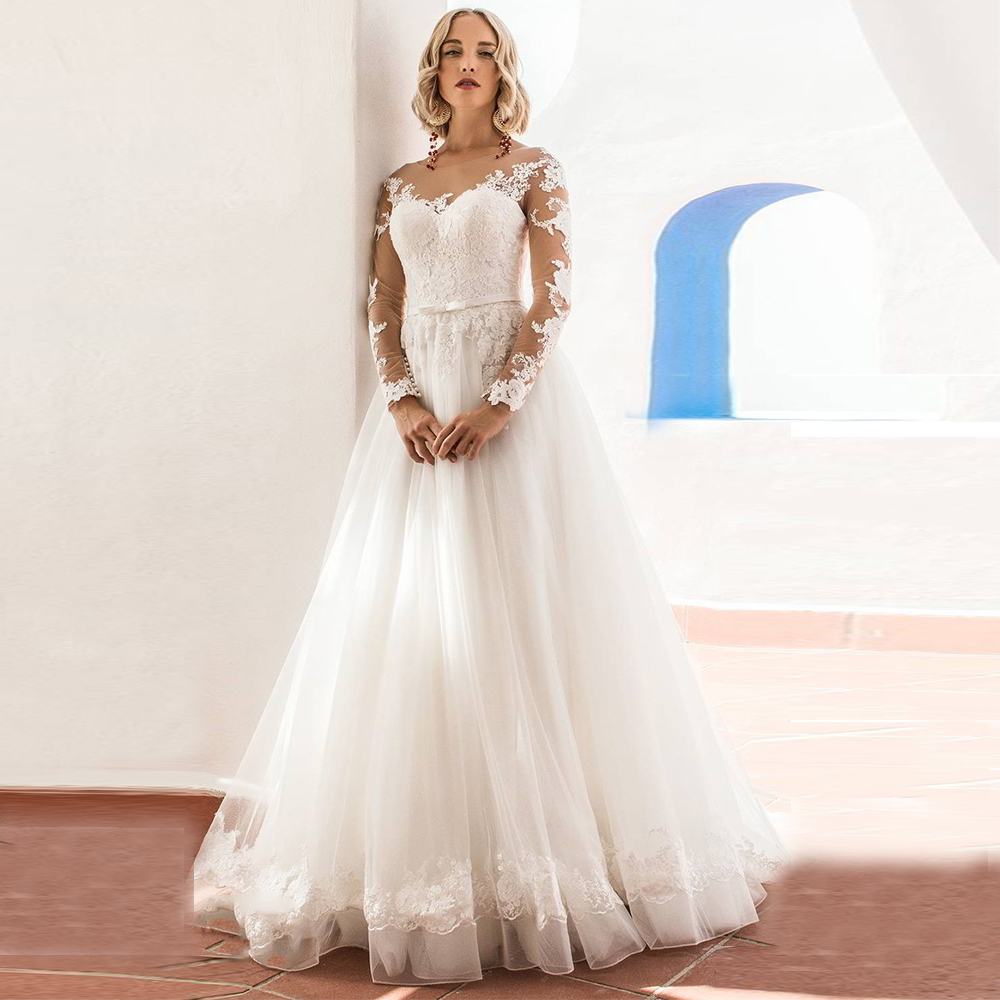 Glamorous Tulle Jewel Neckline Ball Gown Wedding Dresses With Lace Appliques Belt Long Sleeve Wedding Gowns Vestido de Noiva-in Wedding Dresses from Weddings & Events