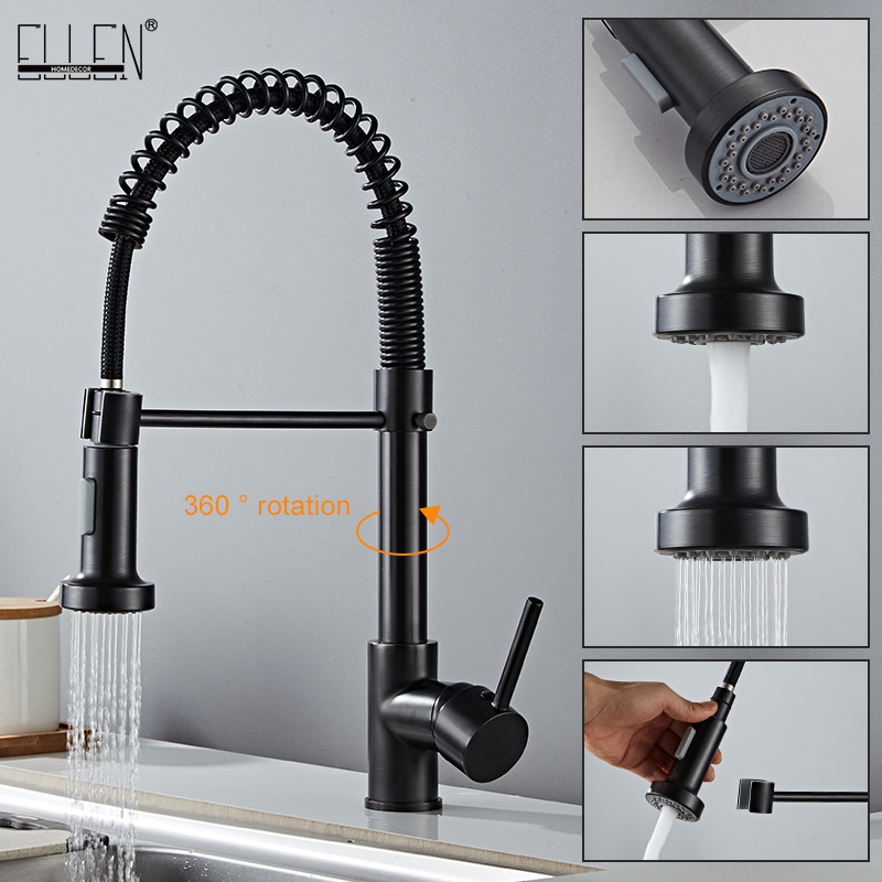 Deck Mounted Flexible Kitchen Faucets Pull Out Mixer Tap Black Hot Cold Kitchen Faucet Spring Style Innrech Market.com