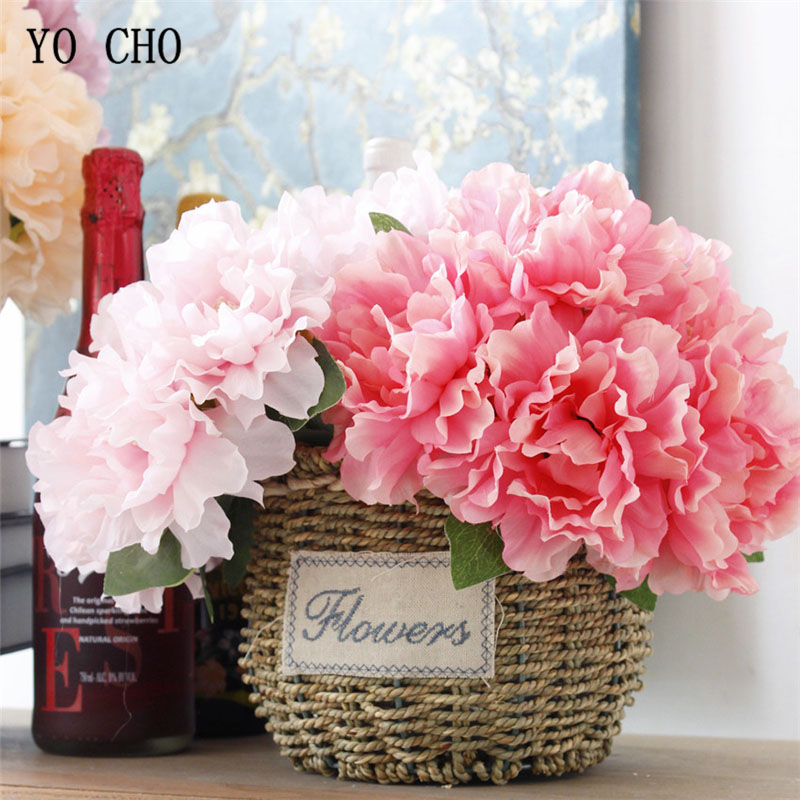 YO CHO 5 Heads Bouquet Big Peonies Artificial Flowers Fake Flowers Peony For Wedding Home Decor Bride Bouquet Hand Holding Flore