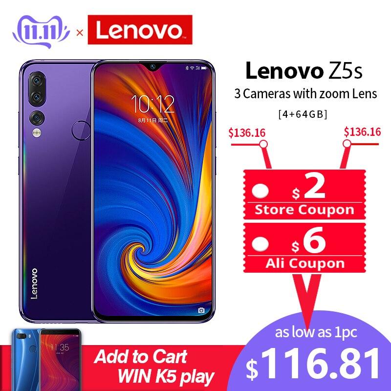 Global ROM Lenovo téléphone portable 6GB 64/128GB Smartphone Z5S 6.3 pouces 2340*1080 caméra arrière 16.0MP 8.0MP 5.0MP Octa Core téléphones