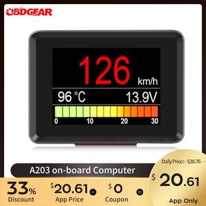 Image 1 - 자동차 온보드 컴퓨터 A203 자동차 디지털 OBD 2 컴퓨터 디스플레이 속도계 연료 소비 미터 온도 OBD2 게이지