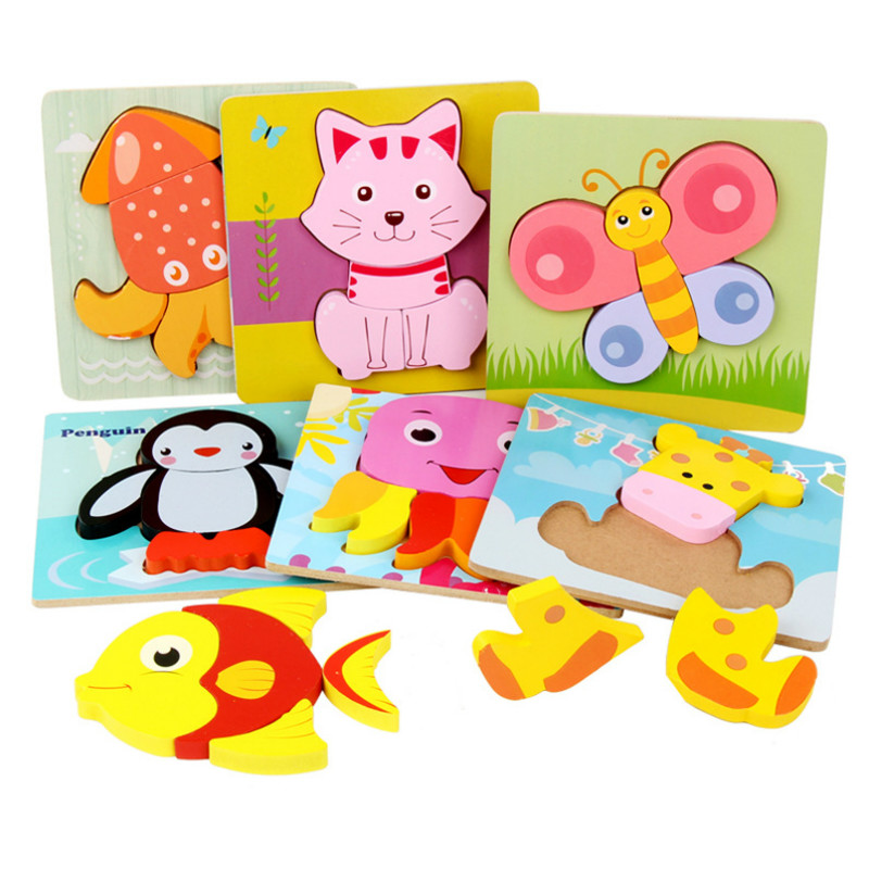 Wooden Jigsaw Baby Early Educational Toys Jigsaw 3d Puzzle Children Ability Exercise Toy Puzzles For Kids Wooden Toys Gifts