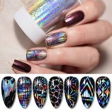 1 rulo parlak lazer tırnak Sticker folyo kağıt sparkly şerit tırnak ipuçları transferi Nail Art Sticker dekorasyon