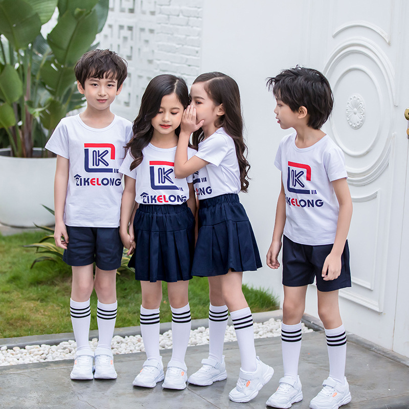 Summer Kindergarten Suit Sports Set Young STUDENT'S School Uniform Summer Wear British-Style Two-Piece Set Men And Women Childre