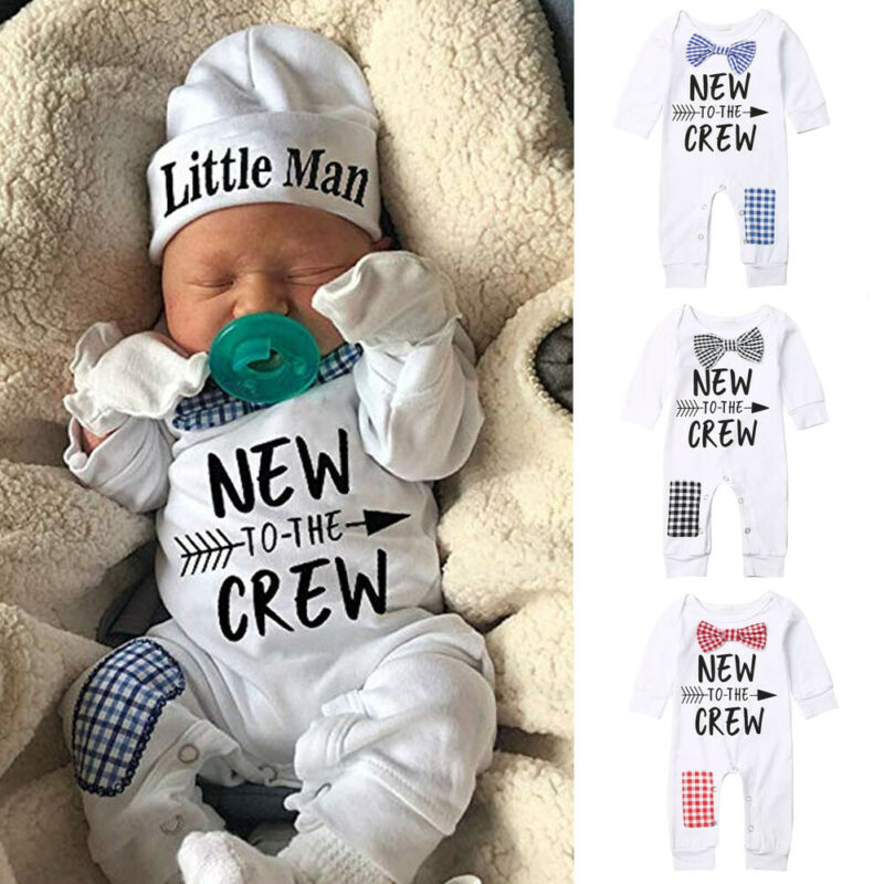 Newborn Baby Boys Cotton Autumn Long Sleeve Romper+Hat Jumpsuit Clothes Long Pants Warm Outfits