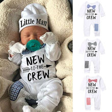 Newborn Baby Boys Cotton Autumn Long Sleeve Romper+Hat Jumpsuit Clothes