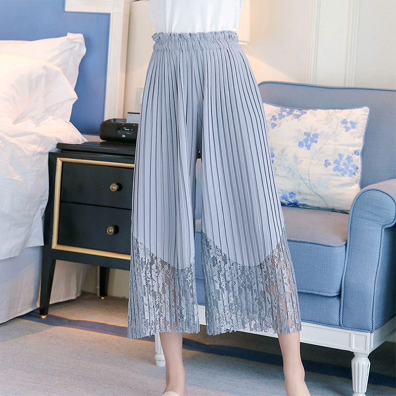 Women Sweet Pleated Lace Stitching   Wide     Leg     Pants   Version Of The Wild Ankle-Length Loose   Wide   Lace Long   Pants