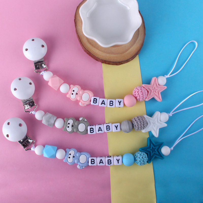 Personality Baby Pacifier Clip Chain Infant Boys Girls Baby Nipple Feeding Cute Cartoon Animal Toys Pacifier Chain Anti-drop