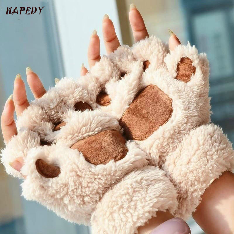 Women Cute Cat Claw Paw Plush Mittens Warm Soft Plush Short Fingerless Fluffy Bear Cat Gloves Costume Half Finger CA6960