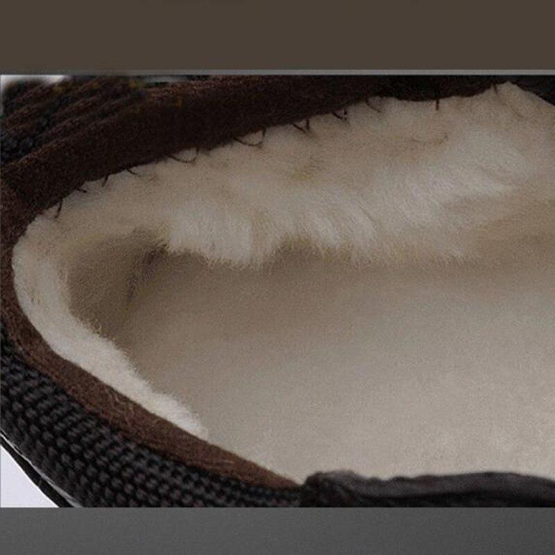 Hommes chaussures d'hiver chaud confortable mode en cuir véritable bottes de neige bottes imperméables hommes laine peluche bottes chaudes - 5