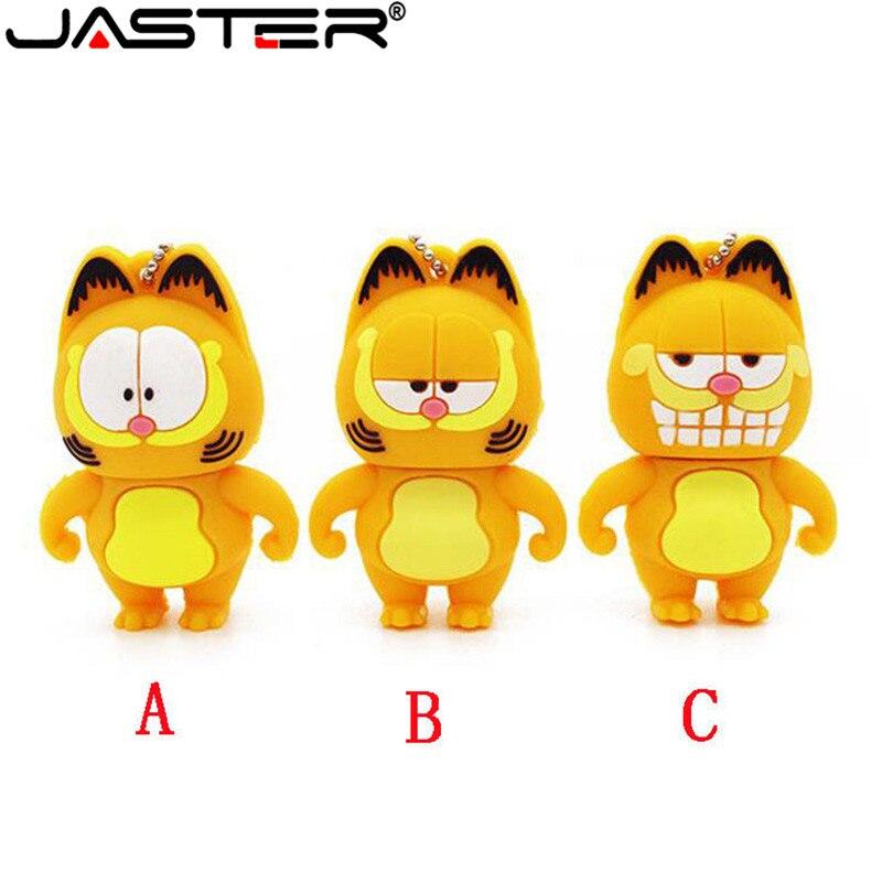 JASTER Cute Garfield Usb Flash Drive Pendrive 4GB 8GB 16GB 32GB 64GB Cartoon Memory Stick U Disk Usb 2.0 Gift Key Chain