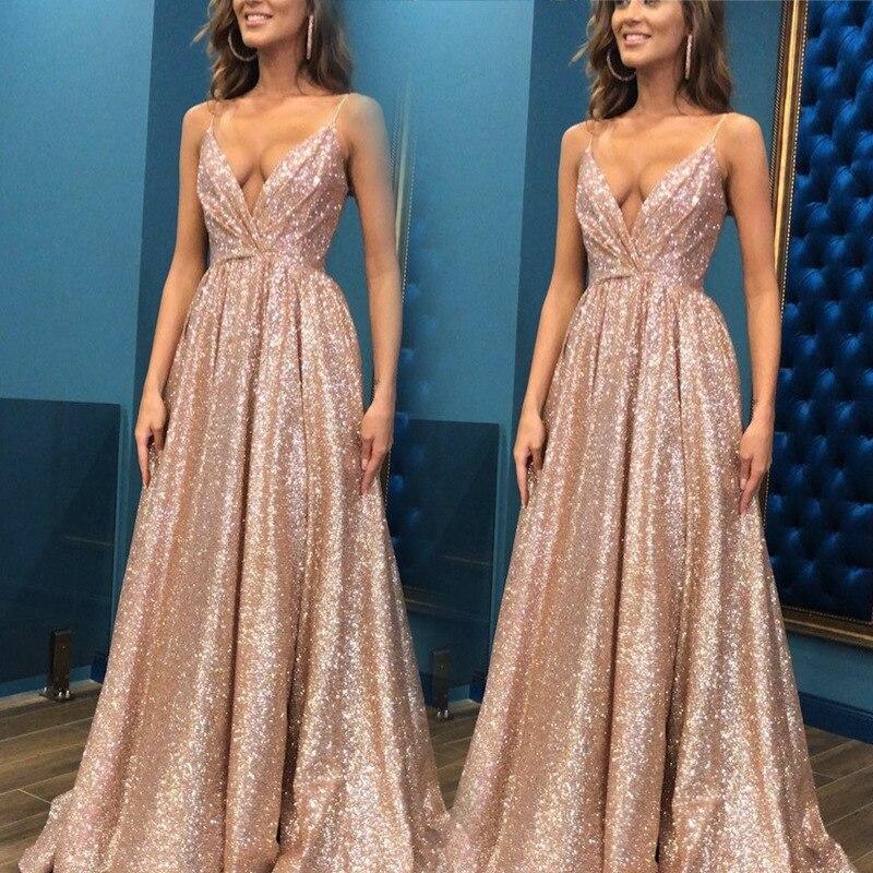 Glitter Rose Gold A Line   Prom     Dresses   2020 Sparkly Spaghetti Straps Long Women Formal Party Gowns Pleat Vestidos de festa New