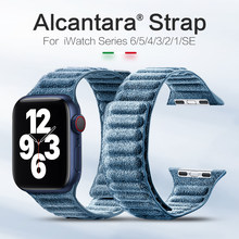 SanCore Alcantara For Apple Watch Strap Magnetic iWatch Series 6 5 4 3 2 1 Se For Apple Watch band 44mm 40mm 42mm 38mm