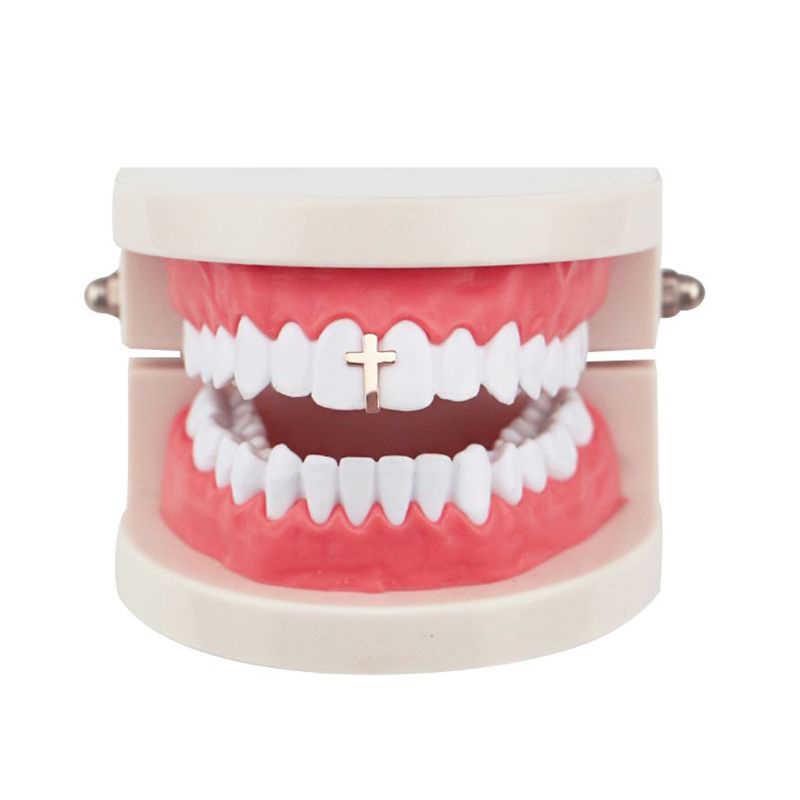 אחת מתכת רוק ראפר צלב גריל שן כובע טרנדי שיניים דקור היפ הופ קוספליי תכשיטי שיניים גריל מכירה לוהטת 2019
