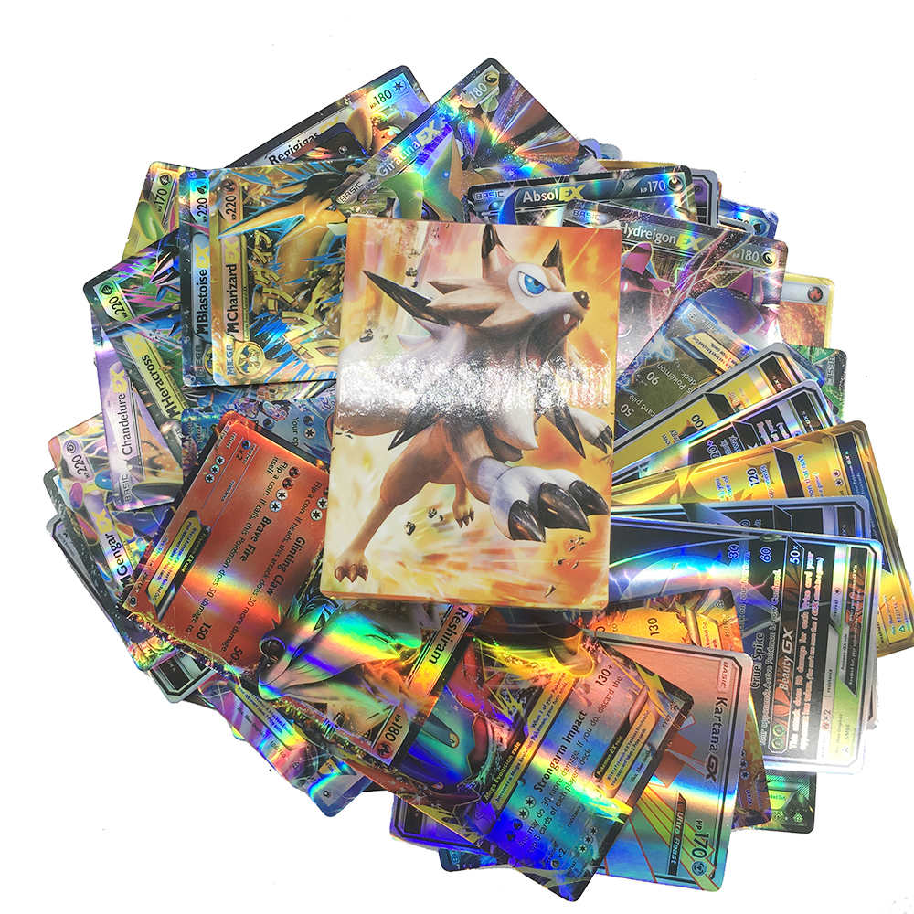 Pokemon Shining Card 100pcs GX EX Cover 3D Sword Shield Card Collections Children Gifts Toys