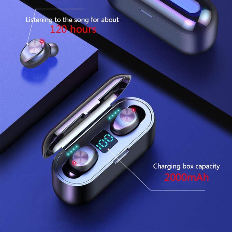 HATOSTEPED Bluetooth Headphones TWS Earbuds Wireless Earphones Stereo Headset Earphone With Mic and Charging