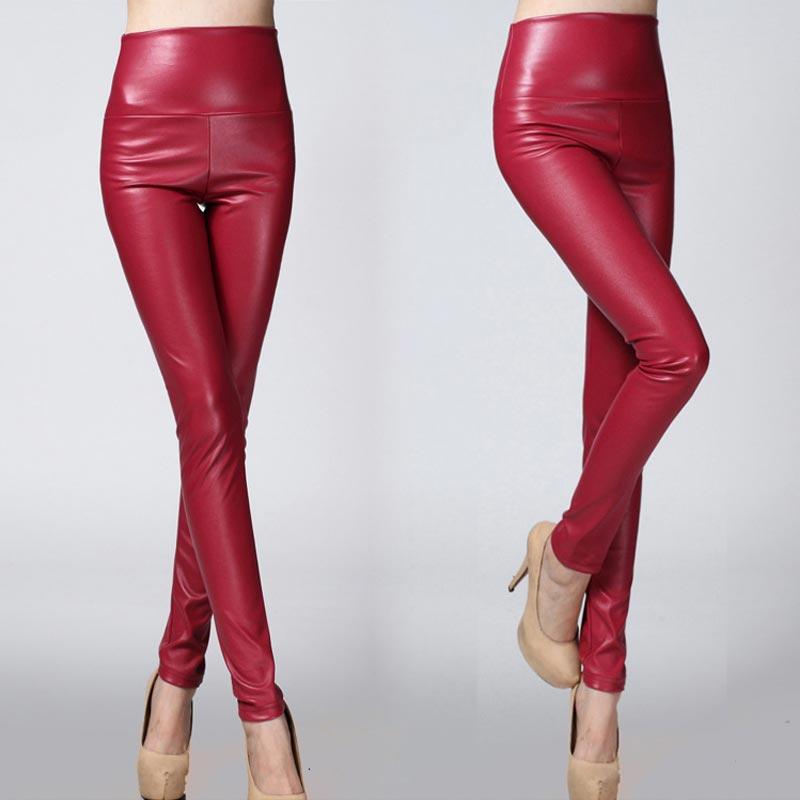 Sale Autumn Winter Soft Stretch Sexy PU Faux Leather Velvet Leggings Female 25 Colors Skinny Women Comfortable Elastic Pants 1PC