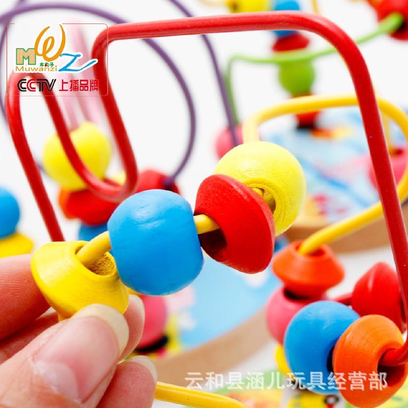 MWZ blocs de construction animaux trafic ferme Mini petit jouet à cordes en bois jouets éducatifs
