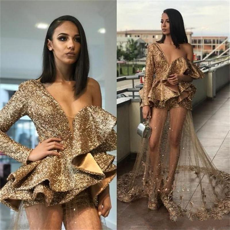 Sparkle Bling Sequined   Cocktail     Dresses   2019 Ruffles Elegant One Shoulder See-through Lace Overskirt Women Occasion Gowns