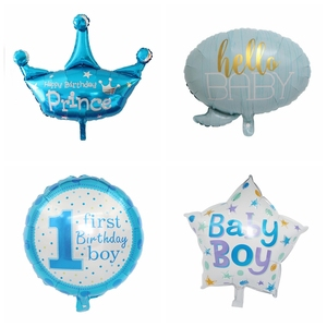 1 Uds baby shower es un niño/globos de niña 1er globo de cumpleaños corona oso globos Decoraciones para fiesta de cumpleaños niños globo