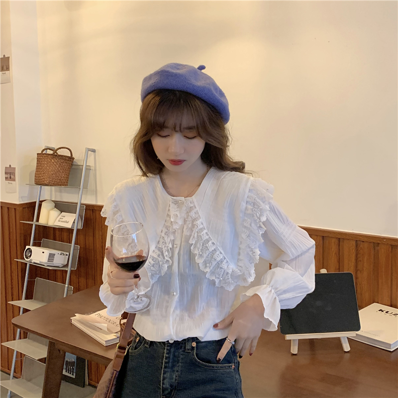 Haa796cf002704fdeb4eee1fd849e20f9q - Spring / Autumn Butterfly Lace Collar Long Sleeves Loose Solid Blouse