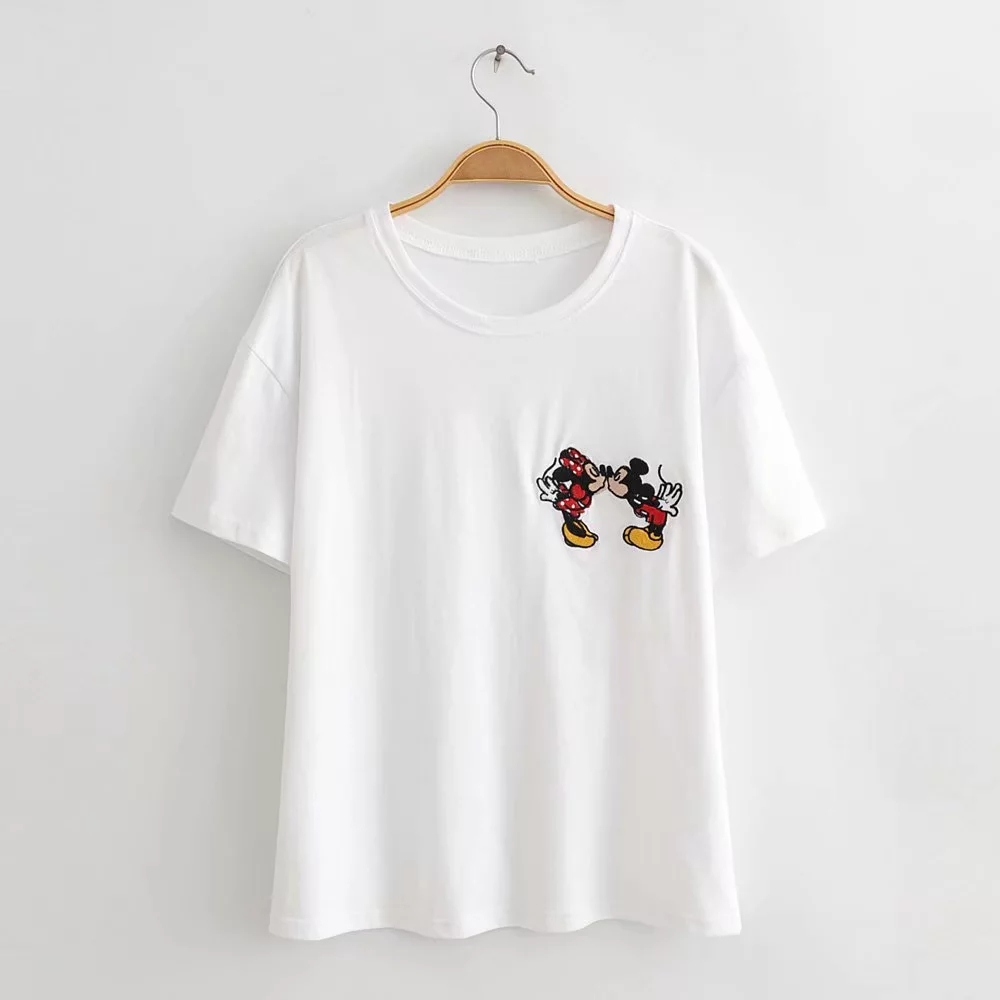 Mickey and Minne Embroidery white t shirt Oversized tops t-shirt women tops tees cotton cartoon short printing Graphic regular