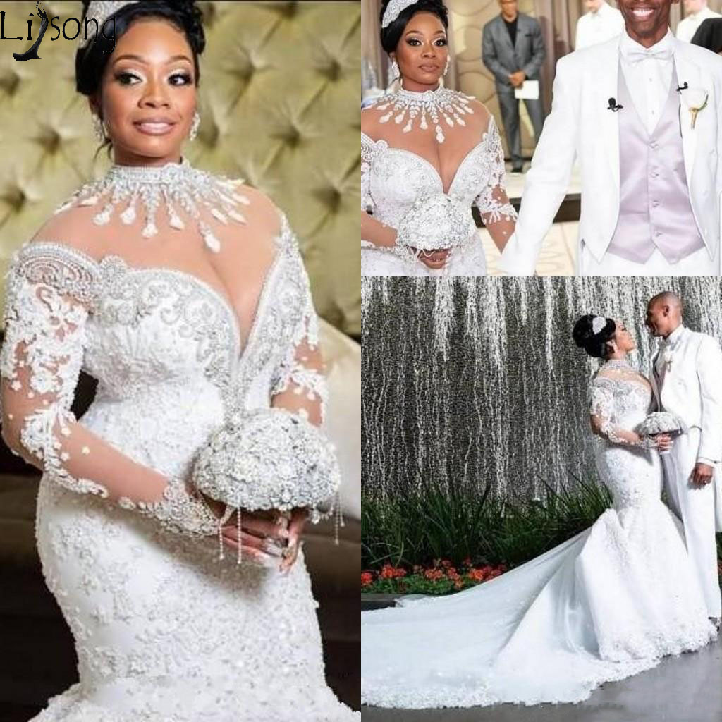 Plus Size Mermaid Wedding Dresses 2020 African Arabic High Neck Long Sleeve Lace Beading Court Train Luxury Bridal Gowns Dress