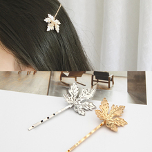 Vintage Hair Accessories Metal Silver Gold Maple Leaf Bobby Pin Fancy Punk Hairpin Plant Barrette For Women Girls Clip