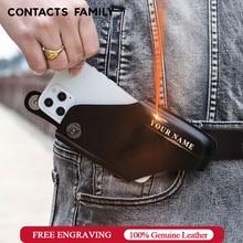 CONTACTS الأسرة العالمي جلد البقر الهاتف الحقيبة حافظة للآيفون 12 11 برو ماكس X 8 7 Xr Xs غطاء الخصر حزام كليب الحافظة أكياس