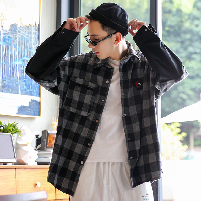 Little Rain Mens Spring Plaid Shirts 2020 Men Fashion Fake Two Shirts Long Sleeve Blouse Streetwear Loose Tops Male Shirts