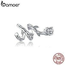 bamoer 925 Sterling Silver Rose Vines Metal Charm for Original Silver Bracelet Fine Plated platinum Jewelry DIY Bangle BSC310