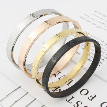 New Design Zircon And Cross Nut Nail Bracelets & Bangles For Women Luxury Brand Jewelry Stainless Steel Screw Jewelry Pulseiras 1
