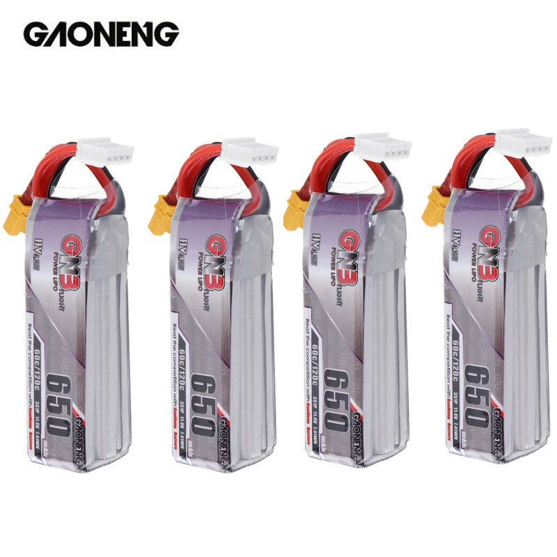 4PCS Gaoneng 11.4V <font><b>650mAh</b></font> 60C <font><b>3S</b></font> HV 4.35V <font><b>Lipo</b></font> Battery XT30 for RC Quadcopter Happymodel FPV Racing Cine Whoop BetaFPV Drone image