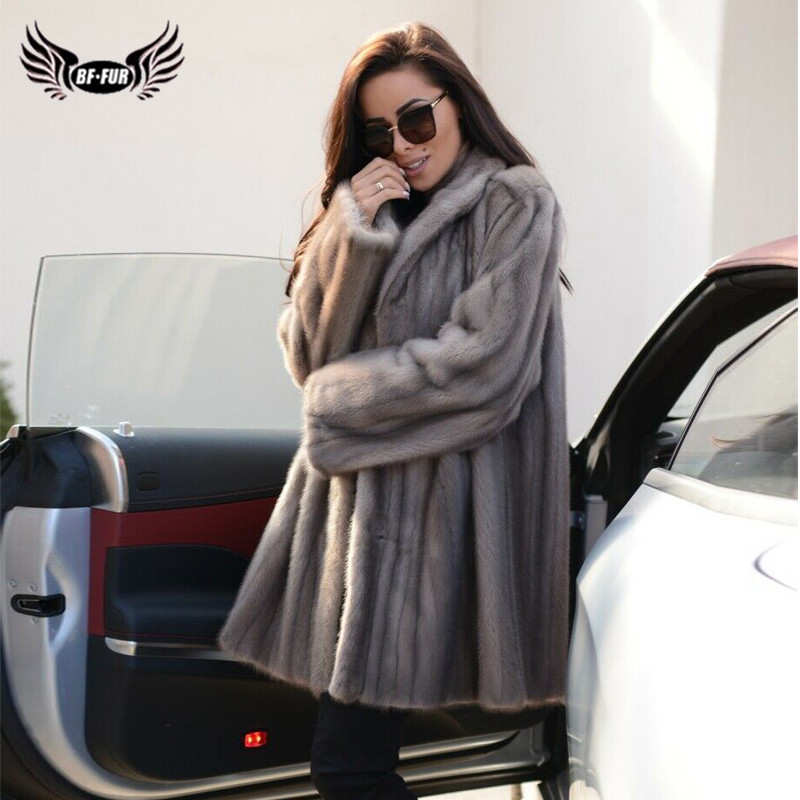 Luxury Mink Fur Coat Winter Women Real Mink Fur Jacket With Lapel Collar Full Pelt Natural Fur Coat Woman Fashion Outwear 2019