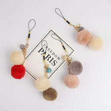 Beautiful Korean Style Smart phone Strap Lanyards for iPhone Samsung Cute Wool Ball Decor Mobile Phone Strap Rope Phone Charm(China)