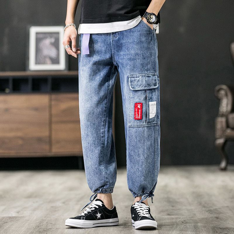 Spring Summer Fashion Streetwear Men Jeans Retro Blue Loose Fit Harem Jeans Big Pocket Cargo Pants Japanese Hip Hop Jeans Men