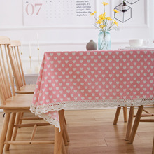 Linen Tablecloth Towel Cotton Lace Pink Love-Printing And Hollow Pastoral Antependium